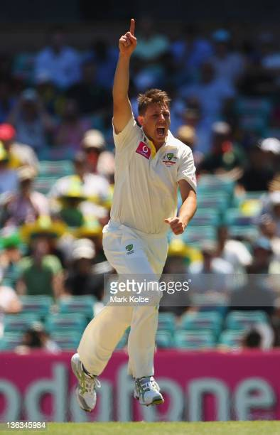 James Pattinson of Australia celebrates taking the wicket of Virender Sehwag of India during day one of the Second Test Match between Australia and...