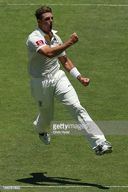 James Pattinson of Australia celebrates the no ball wicket of Hashim Amla of South Africa during day five of the First Test match between Australia...