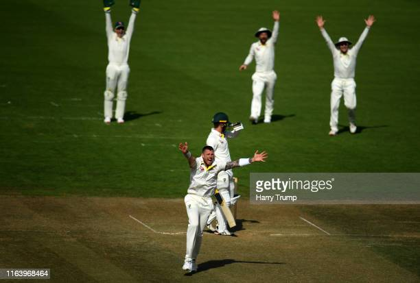 James Pattinson of Graeme Hick XII appeals successfully for the wicket of Alex Carey of Brad Haddin XII during day two of the Australian Cricket Team...
