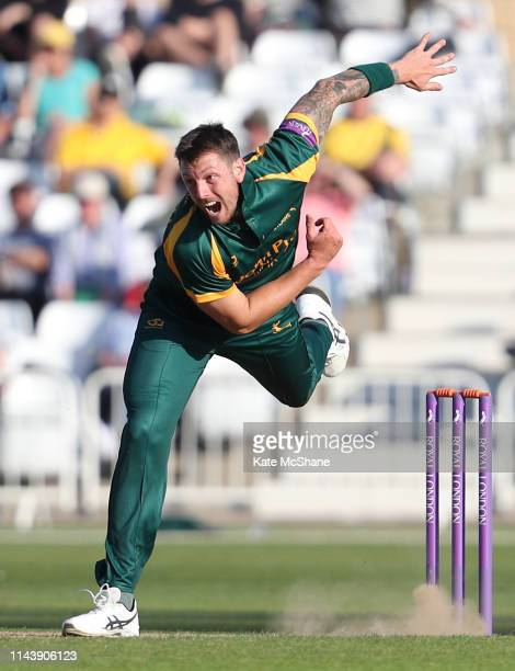 James Pattinson of Nottinghamshire bowls during the Royal London One Day Cup match between Nottinghamshire and Lancashire at Trent Bridge on April...