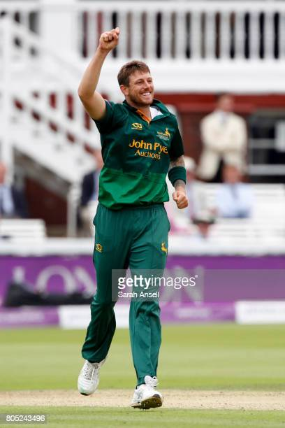 James Pattinson of Nottinghamshire celebrates after bowling Sam Curran of Surrey during the match between Nottinghamshire and Surrey at Lord's...