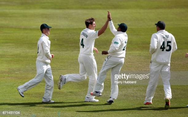 James Pattinson of Nottinghamshire celebrates the wicket of Delray Rawlins of Sussex during Day Two of the Specsavers County Championship Division...