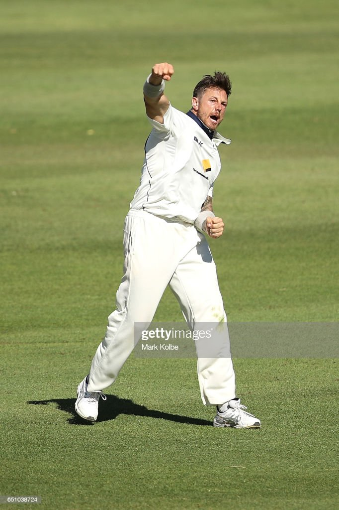 James Pattinson of the Bushrangers celebrates taking the wicket of Josh Inglis of the Warriors during the Sheffield Shield match between Victoria and Western Australia at Traeger Park on March 10, 2017 in Alice Springs, Australia.