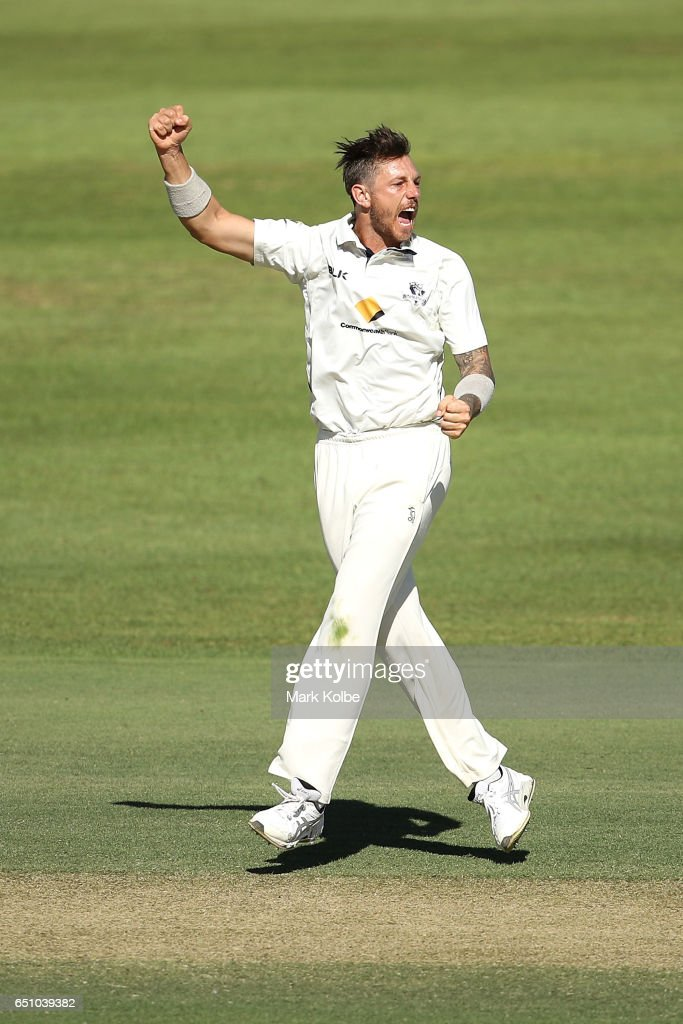James Pattinson of the Bushrangers celebrates taking the wicket of Michael Klinger of the Warriors during the Sheffield Shield match between Victoria and Western Australia at Traeger Park on March 10, 2017 in Alice Springs, Australia.