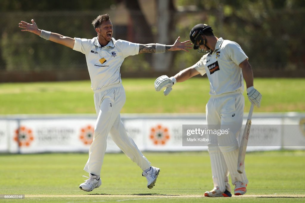 James Pattinson of the Bushrangers unsuccessfully appeals for the wicket of Hilton Cartwright of the Warriors during the Sheffield Shield match between Victoria and Western Australia at Traeger Park on March 10, 2017 in Alice Springs, Australia.