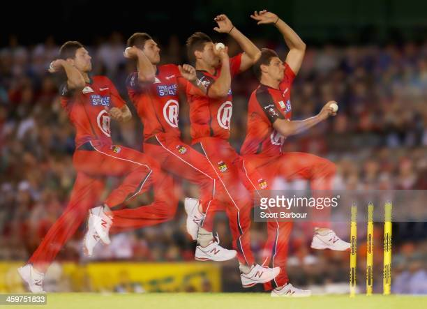 James Pattinson of the Renegades bowls during the Big Bash League match between the Melbourne Renegades and Brisbane Heat at Etihad Stadium on...