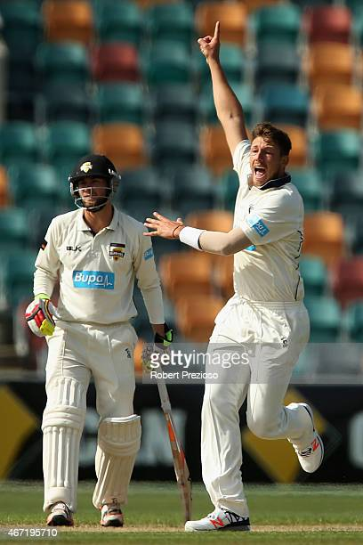 James Pattinson of Victoria appeals unsuccessfully during day two of the Sheffield Shield final match between Victoria and Western Australia at...