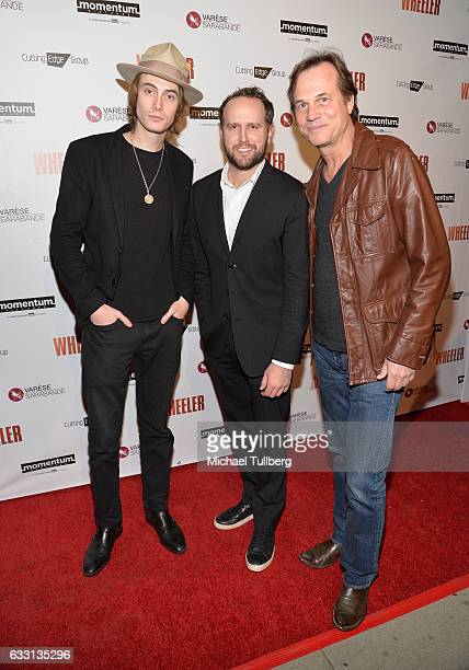 """James Paxton, director Ryan Ross and actor Bill Paxton attends the premiere of Momentum Pictures' """"Wheeler"""" at the Vista Theatre on January 30, 2017..."""