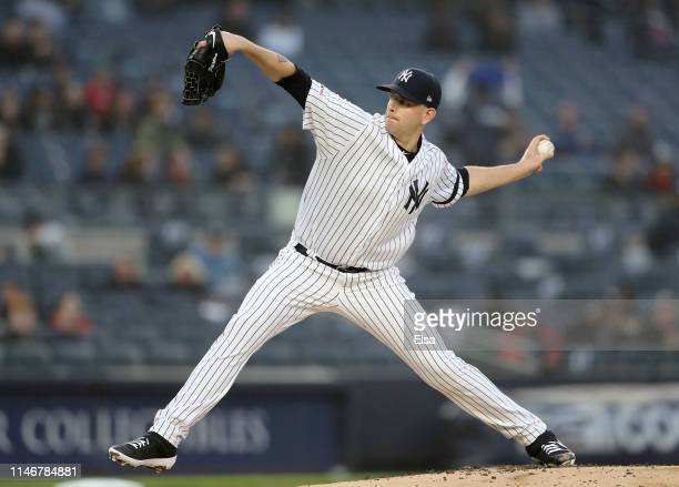 James Paxton of the New York Yankees delivers a pitch in the first inning against the Minnesota Twins at Yankee Stadium on May 03 2019 in the Bronx...