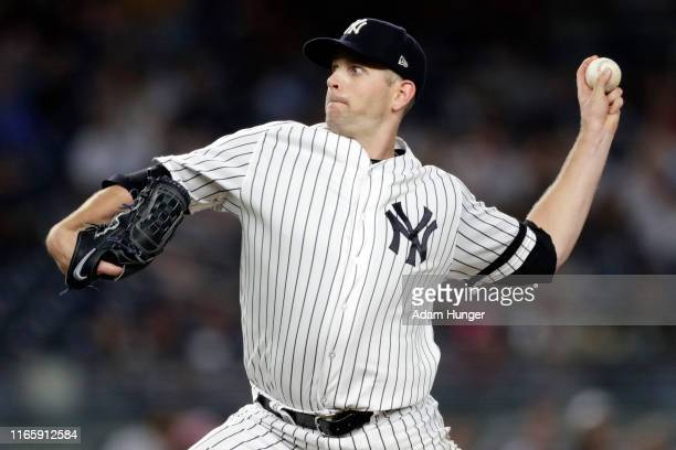 James Paxton of the New York Yankees pitches against the Texas Rangers during the fourth inning at Yankee Stadium on September 3 2019 in the Bronx...