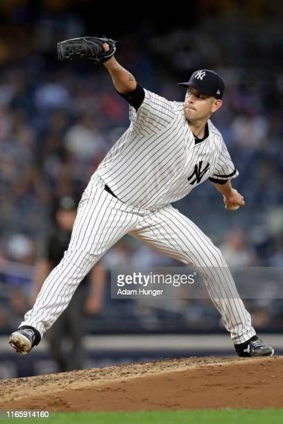 James Paxton of the New York Yankees pitches against the Texas Rangers during the third inning at Yankee Stadium on September 3 2019 in the Bronx...