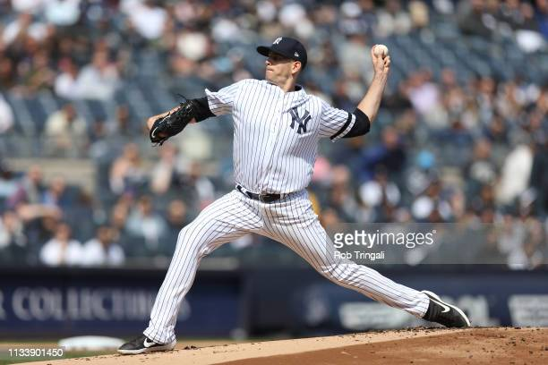 James Paxton of the New York Yankees pitches during the first inning of the game against the Baltimore Orioles at Yankee Stadium on Saturday March 30...