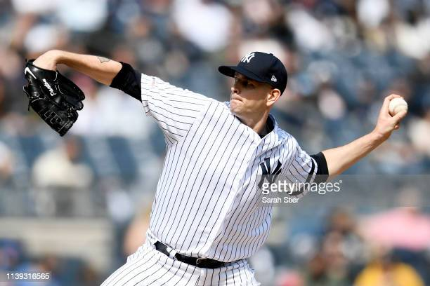 James Paxton of the New York Yankees pitches during the first inning of the game against the Baltimore Orioles at Yankee Stadium on March 30 2019 in...