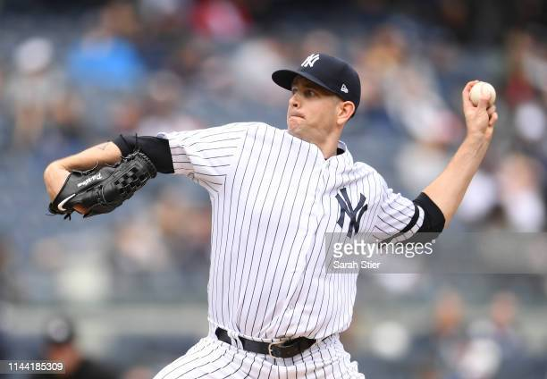 James Paxton of the New York Yankees pitches during the first inning of the game against the Kansas City Royals at Yankee Stadium on April 21 2019 in...