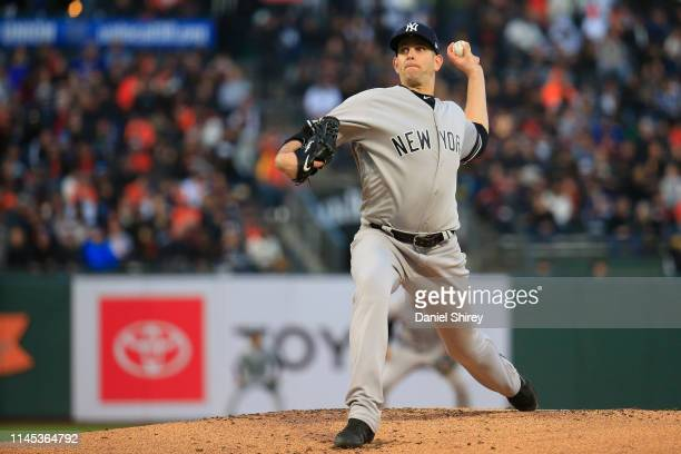 James Paxton of the New York Yankees pitches during the first inning against the San Francisco Giants at Oracle Park on April 26 2019 in San...