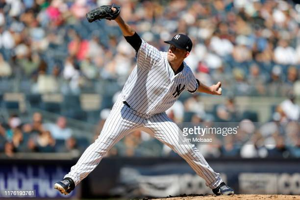 James Paxton of the New York Yankees pitches during the fourth inning against the Toronto Blue Jays at Yankee Stadium on September 21 2019 in the...
