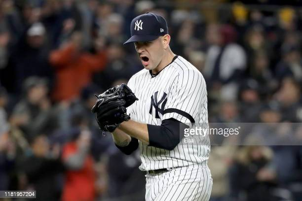 James Paxton of the New York Yankees reacts after retiring the Houston Astros during the sixth inning in game five of the American League...
