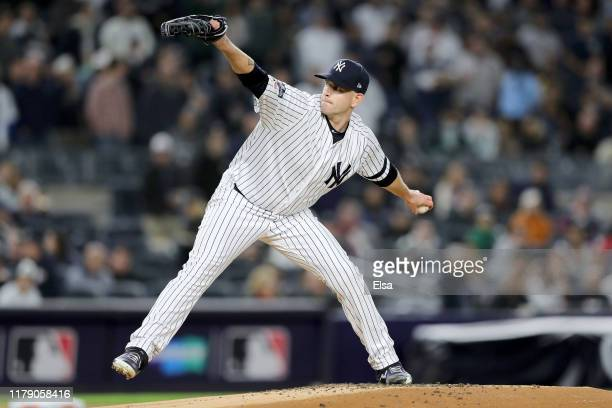 James Paxton of the New York Yankees throws a pitch against the Minnesota Twins during the first inning in game one of the American League Division...