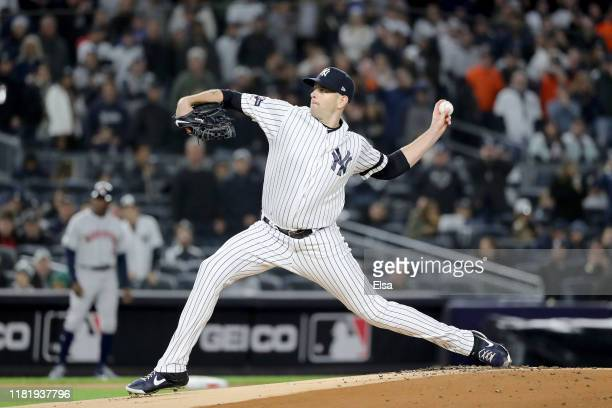 James Paxton of the New York Yankees throws a pitch against the Houston Astros during the first inning in game five of the American League...