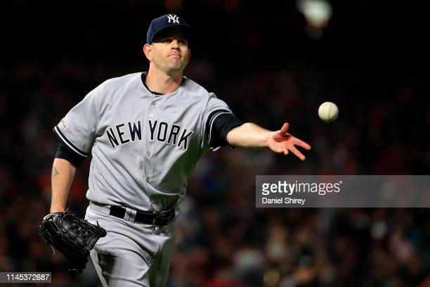 James Paxton of the New York Yankees throws to first for an out during the fourth inning against the San Francisco Giantss at Oracle Park on April 26...
