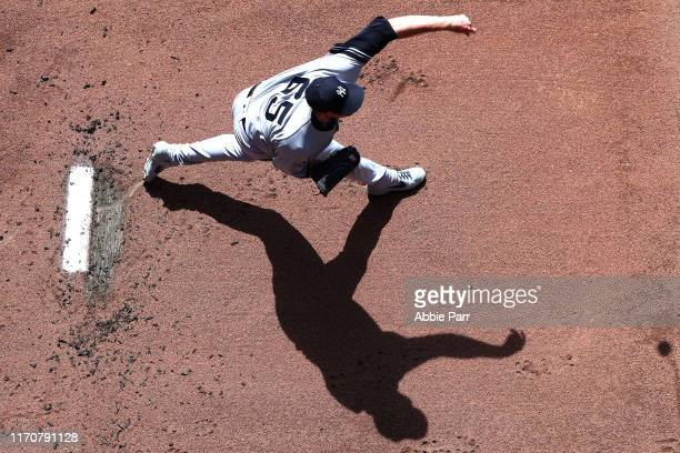 James Paxton of the New York Yankees warms up prior to taking on the Seattle Mariners during their game at TMobile Park on August 28 2019 in Seattle...
