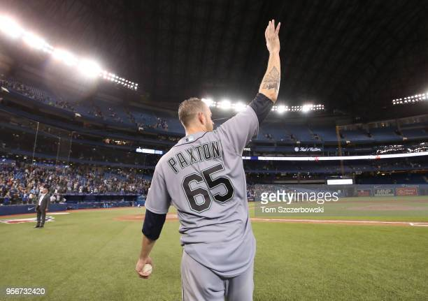 James Paxton of the Seattle Mariners acknowledges the crowd after throwing a nohitter during MLB game action against the Toronto Blue Jays at Rogers...