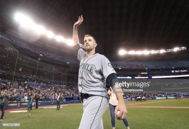 James Paxton of the Seattle Mariners acknowledges the fans after throwing a nohitter during MLB game action against the Toronto Blue Jays at Rogers...
