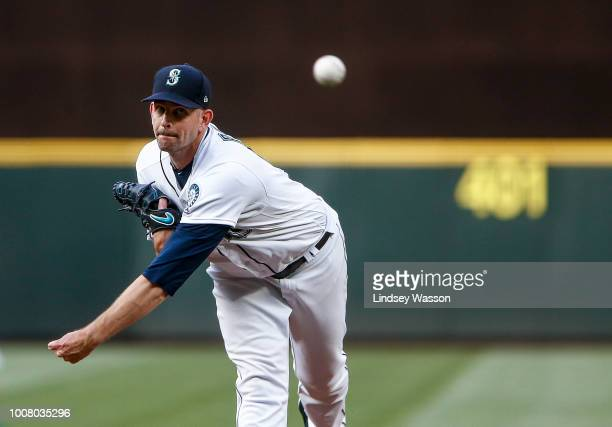 James Paxton of the Seattle Mariners delivers against the Houston Astros in the second inning at Safeco Field on July 30 2018 in Seattle Washington