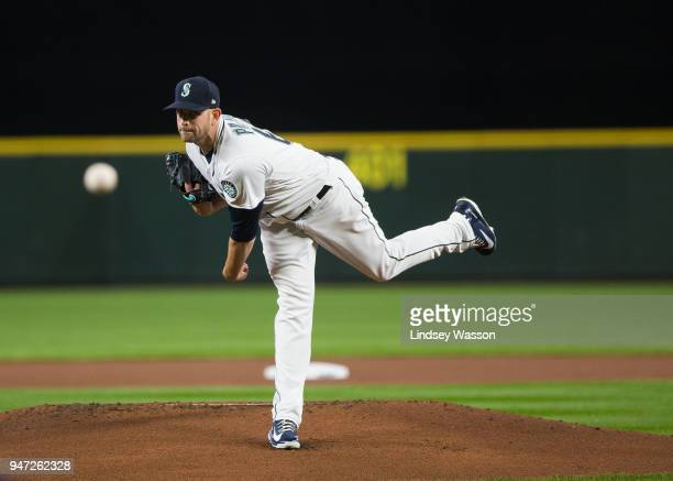 James Paxton of the Seattle Mariners delivers against the Houston Astros in the first inning at Safeco Field on April 16 2018 in Seattle Washington