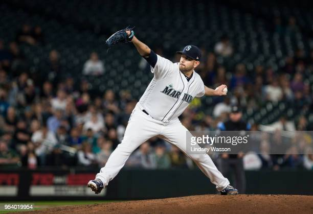 James Paxton of the Seattle Mariners delivers against the Oakland Athletics in the seventh inning at Safeco Field on May 2 2018 in Seattle Washington