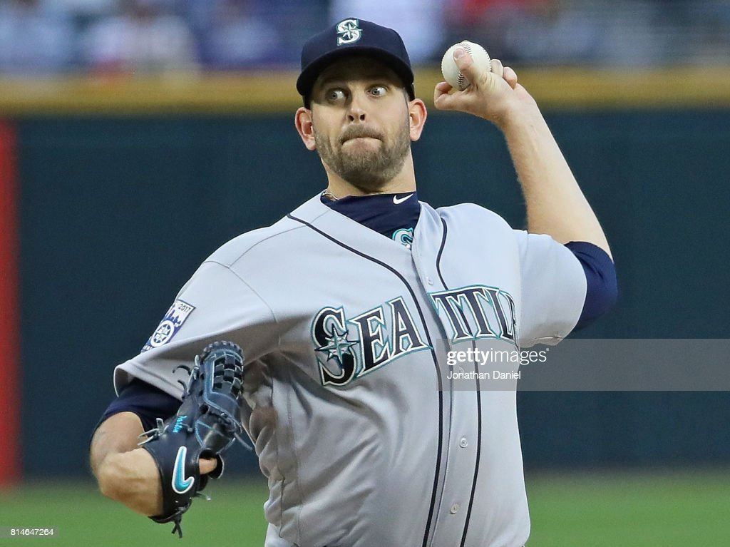 James Paxton #65 of the Seattle Mariners delivers the ball against the Chicago White Sox at Guaranteed Rate Field on July 14, 2017 in Chicago, Illinois.