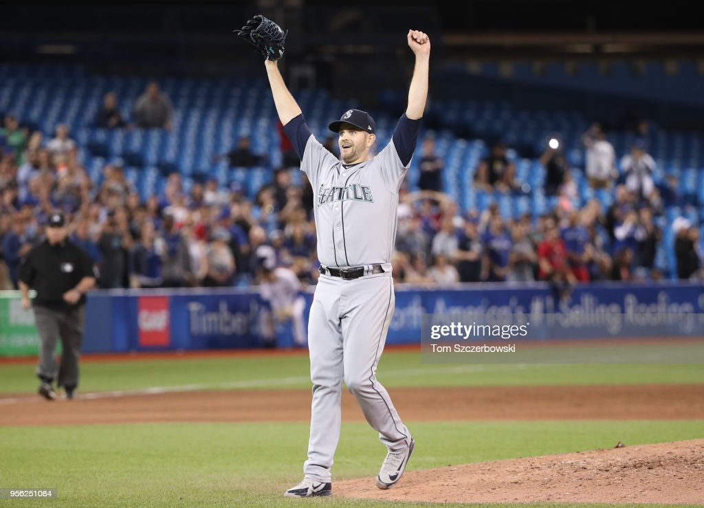 James Paxton #65 of the Seattle Mariners is celebrates after throwing a no-hitter during MLB game action against the Toronto Blue Jays at Rogers Centre on May 8, 2018 in Toronto, Canada.