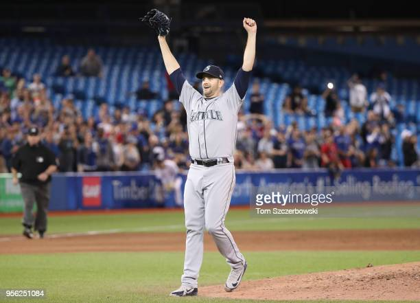 James Paxton of the Seattle Mariners is celebrates after throwing a nohitter during MLB game action against the Toronto Blue Jays at Rogers Centre on...
