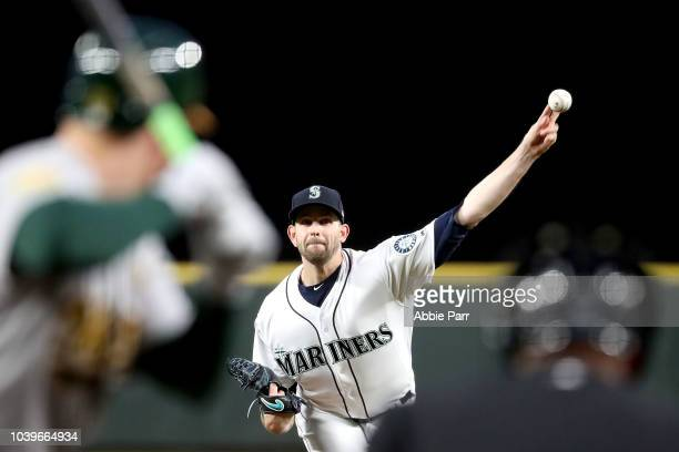 James Paxton of the Seattle Mariners pitches against the Oakland Athletics in the first inning during their game at Safeco Field on September 24 2018...