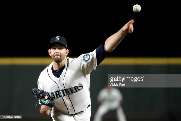 James Paxton of the Seattle Mariners pitches against the Oakland Athletics in the second inning during their game at Safeco Field on September 24...
