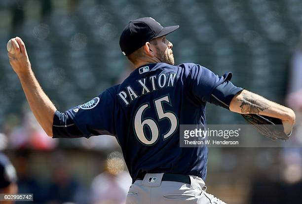 James Paxton of the Seattle Mariners pitches against the Oakland Athletics in the bottom of the first inning at OaklandAlameda County Coliseum on...