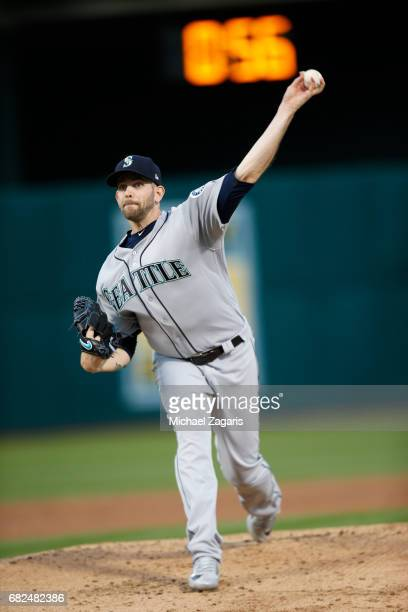 James Paxton of the Seattle Mariners pitches during the game against the Oakland Athletics at the Oakland Alameda Coliseum on April 20 2017 in...