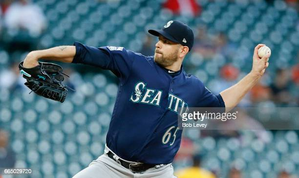 James Paxton of the Seattle Mariners pitches in the first inning against the Houston Astros at Minute Maid Park on April 5 2017 in Houston Texas