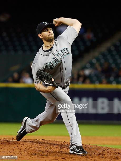 James Paxton of the Seattle Mariners throws a picth during the third inning of their game against the Houston Astros at Minute Maid Park on April 30...