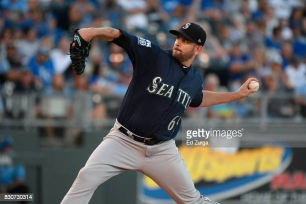 James Paxton of the Seattle Mariners throws against the Kansas City Royals at Kauffman Stadium on August 4 2017 in Kansas City Missouri