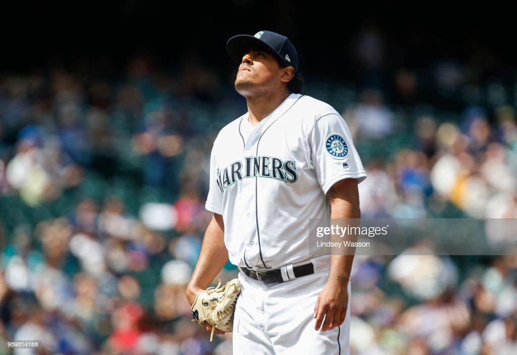 James Pazos #47 of the Seattle Mariners walks off the field after being taken out in the eighth inning against the Texas Rangers at Safeco Field on May 16, 2018 in Seattle, Washington. The Texas Rangers beat the Seattle Mariners 5-1.