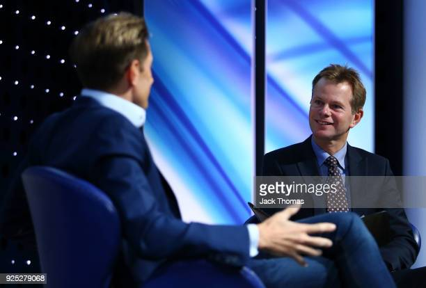James Pearce on stage interviewing Crystal Palace Chairman Steve Parish during the Sport Industry Breakfast Club at the BT Centre on February 28,...
