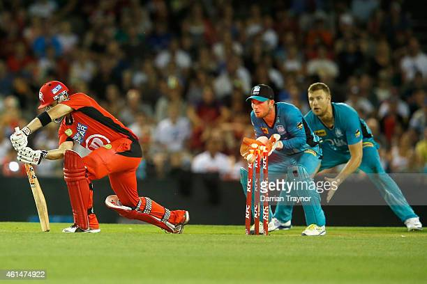 James Peirson and Andrew Flintoff of the Brisbane Heat celebrate as Callum Ferguson of the Melbourne Renegades is bowled by Stephen Parry during the...
