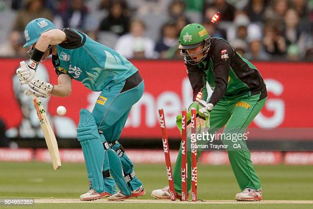 James Peirson of the Brisbane Heat is clean bowled by Michael Beer of the Melbourne Stars during the Big Bash League match between the Melbourne...