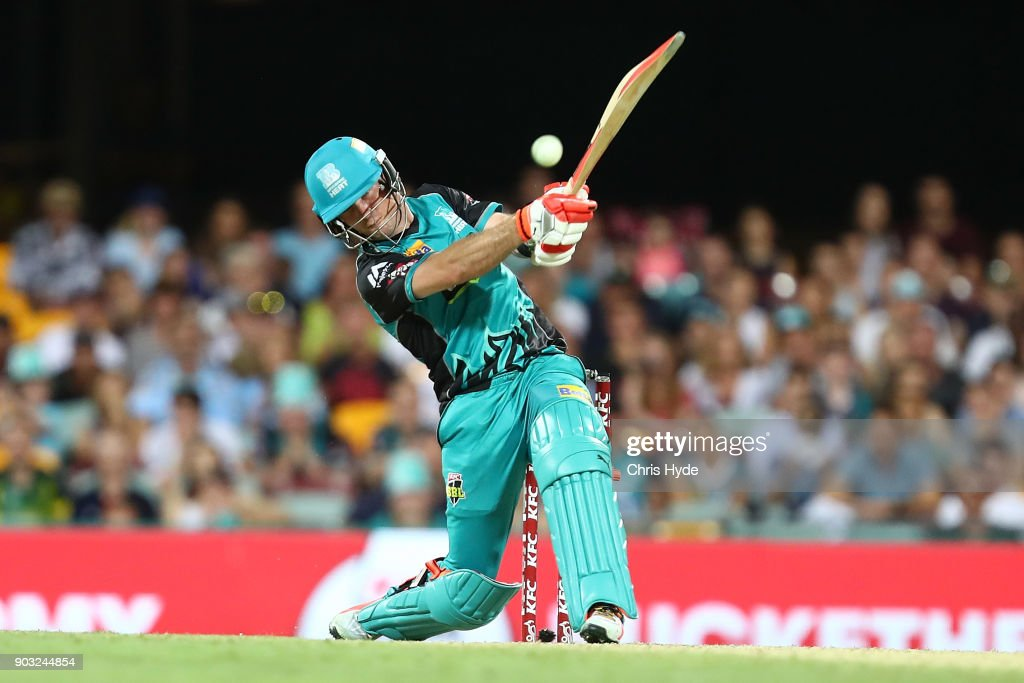 James Peirson of the Heat bats during the Big Bash League match between the Brisbane Heat and the Hobart Hurricanes at The Gabba on January 10, 2018 in Brisbane, Australia.