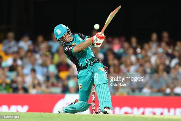 James Peirson of the Heat bats during the Big Bash League match between the Brisbane Heat and the Hobart Hurricanes at The Gabba on January 10 2018...