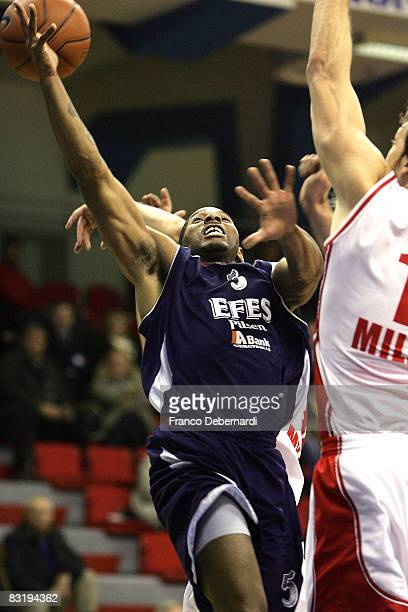 James Penn of Efes Pilsen Istanbul in action during the Euroleague Basketball game 9 between Armani Jeans Milano v Efes Pilsen Istanbul at the...