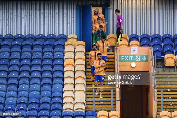 James Perch of Mansfield Town leads his team out for the Sky Bet League Two match between Mansfield Town and Forest Green Rovers at One Call Stadium...