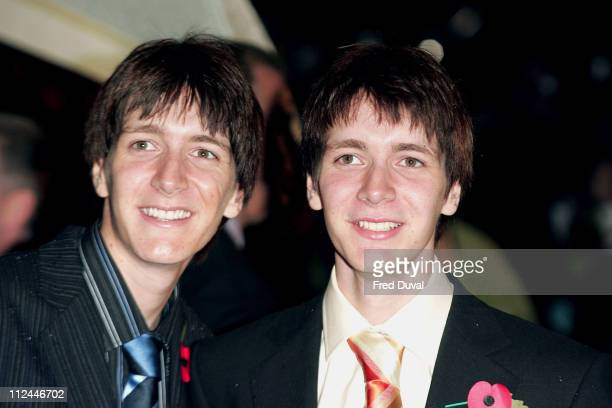 James Phelps and Oliver Phelps during Harry Potter and the Goblet of Fire World Premiere Arrivals at Odeon Leicester Square in London United Kingdom