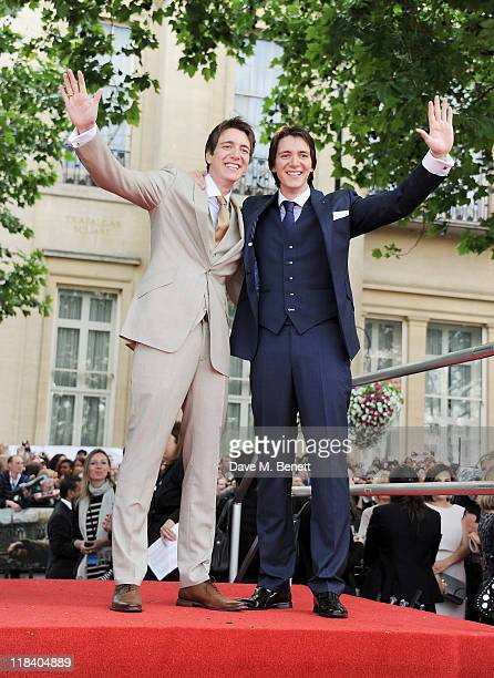James Phelps Oliver Phelps arrive at the World Premiere of 'Harry Potter And The Deathly Hallows Part 2' in Trafalgar Square on July 7 2011 in London...